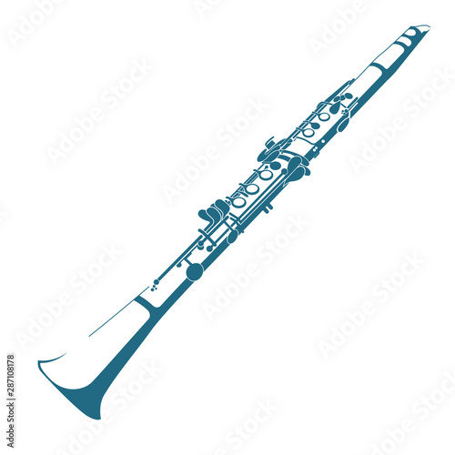 Fototapeta Vector drawn clarinet. Isolated on white background.