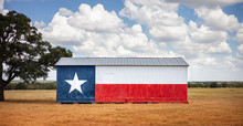 Texas Flag Painted On Old Barn...