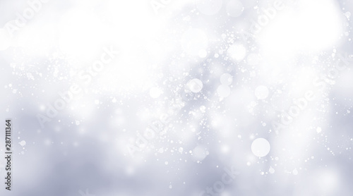 Poster Blanc white snow blur abstract background. Bokeh Christmas blurred beautiful shiny Christmas lights