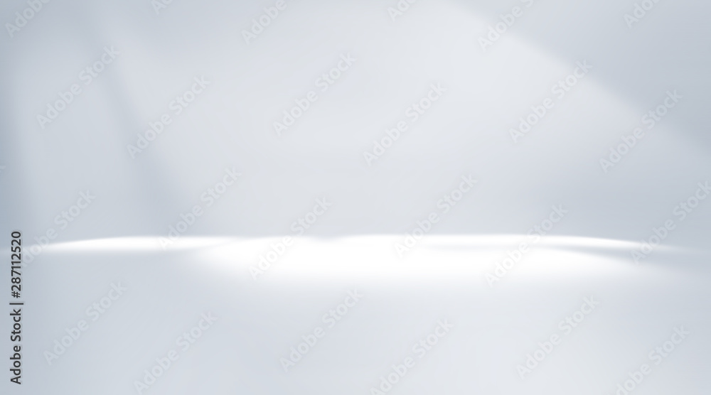 Fototapeta Soft gray empty perspective floor room studio gradient with backdrop spotlight used for background and display your product.