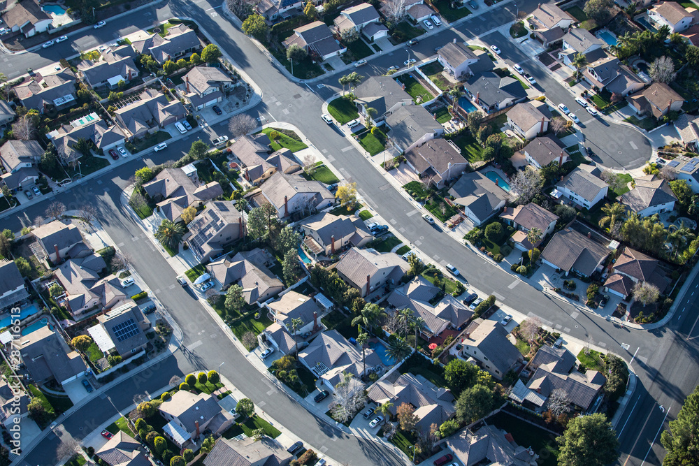Fototapety, obrazy: Aerial view of suburban Thousand Oaks homes and streets near Los Angeles in Ventura County, California.