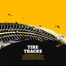Tire Tracks Print Marks On Yel...