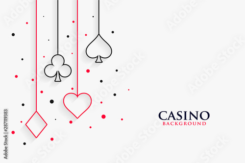 Canvas casino playing cards line symbols on white background