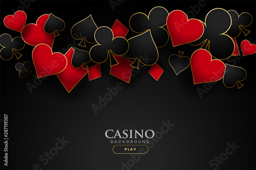 Photographie casino playing card symbols on black background