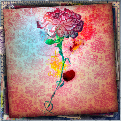 Tuinposter Imagination Decorative background with red carnation