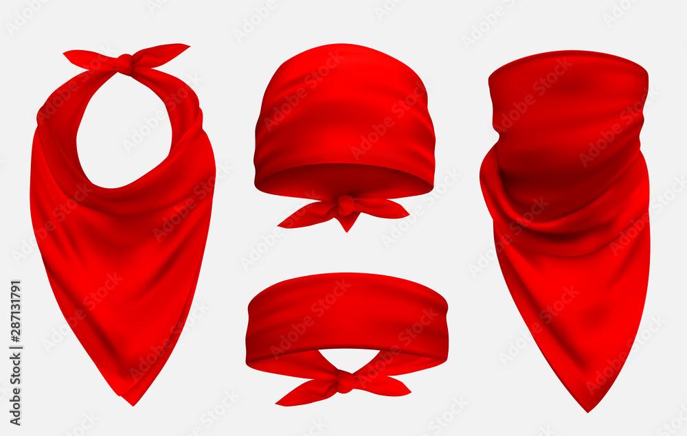 Fototapeta Red bandana realistic 3d accessory illustrations set