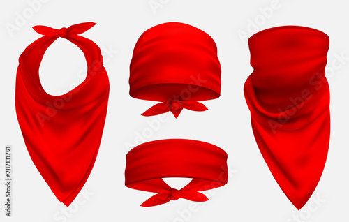 Red bandana realistic 3d accessory illustrations set Fototapet