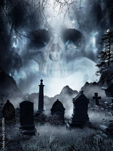 Cuadros en Lienzo Fog on an abandoned cemetery