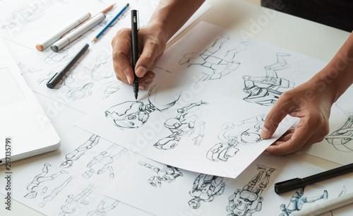 Animator designer Development designing drawing sketching development creating graphic pose characters sci-fi robot Cartoon illustration animation video game film production , animation design studio Poster Mural XXL
