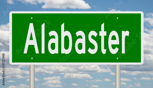 Rendering of a green highway sign for Alabaste Alabama Canvas Print