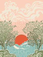 Sunset Sea And Tree