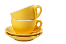 Set Of Yellow Cups And Saucers...
