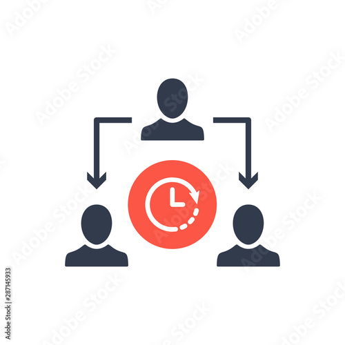 Photo Assignment, Delegate, Delegating, Distribution icon with clock sign, countdown,