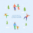 Merry Christmas, Happy New Year winter holiday greeting card. People characters ice skating on the rink. Excited family outside. Vector Illustration