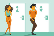 Woman And Man Standing At The Closed Toilet Door