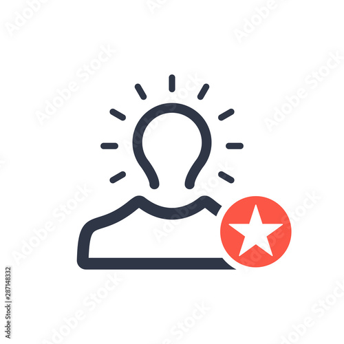 Brand awareness icon with star sign, best, favorite, rating symbol Wallpaper Mural