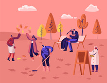 People Walking In Autumn City Park Among Colorful Trees And Fallen Leaves. Painter Drawing Picture, Young Couple Hugging On Bench, Man Raking Ground, Girls Playing. Cartoon Flat Vector Illustration
