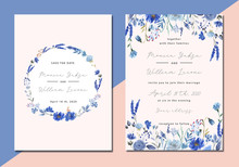 Wedding Invitation With Blue F...
