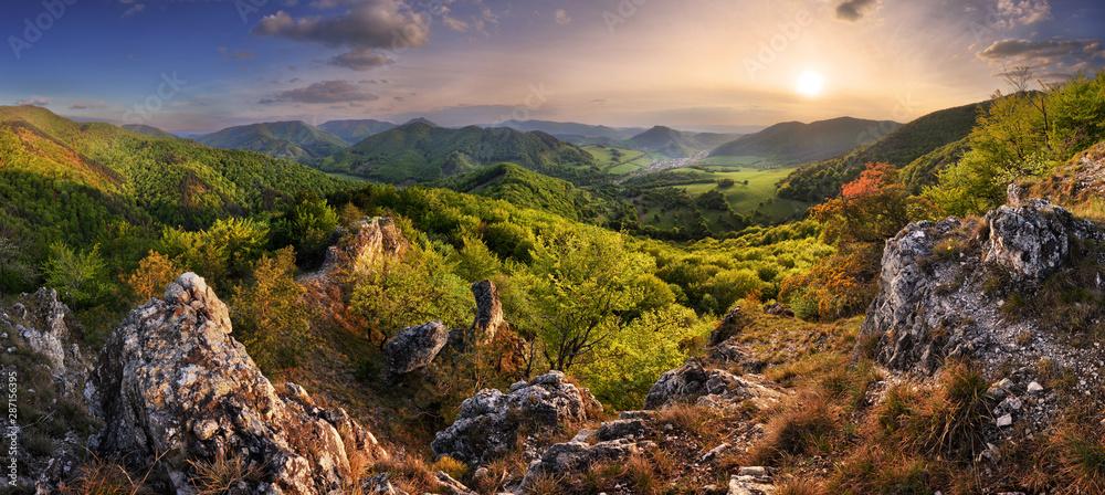 Fototapeta Mountain landscape panorama at spring at sunset