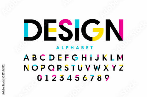Fotografía Modern bright colorful font design, alphabet letters and numbers