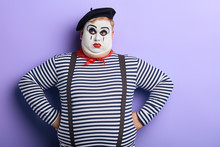 Serious Plump Mime With White ...