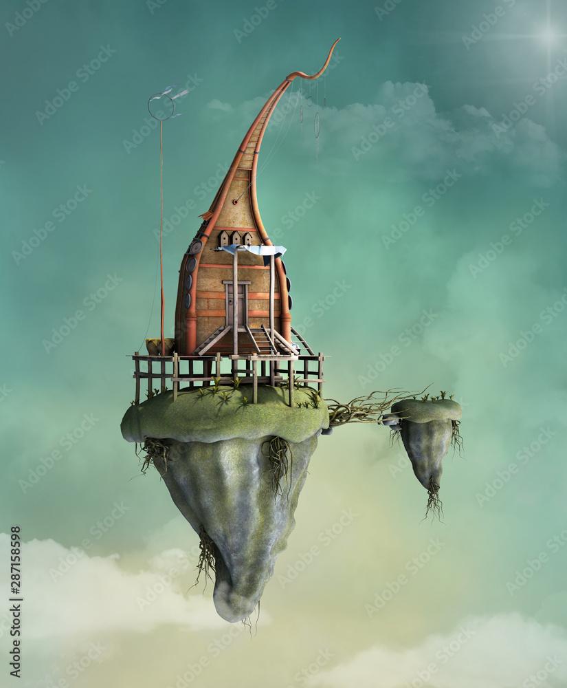 Fantasy flying house in the cloudy sky - 3D illustration - obrazy, fototapety, plakaty