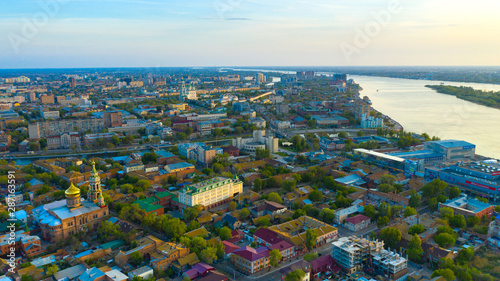 Photo Panorama of the city of Astrakhan on the Volga River.