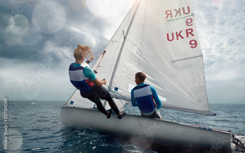 Valokuvatapetti Sailing yacht race. Yachting. Sailing regatta.