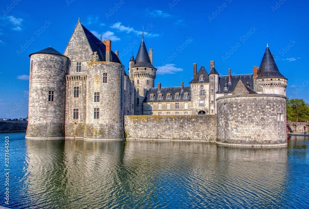 Fototapeta Famous medieval castle Sully sur Loire, Loire valley, France.