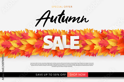 Autumn Sale Background Banner Poster Or Flyer Design