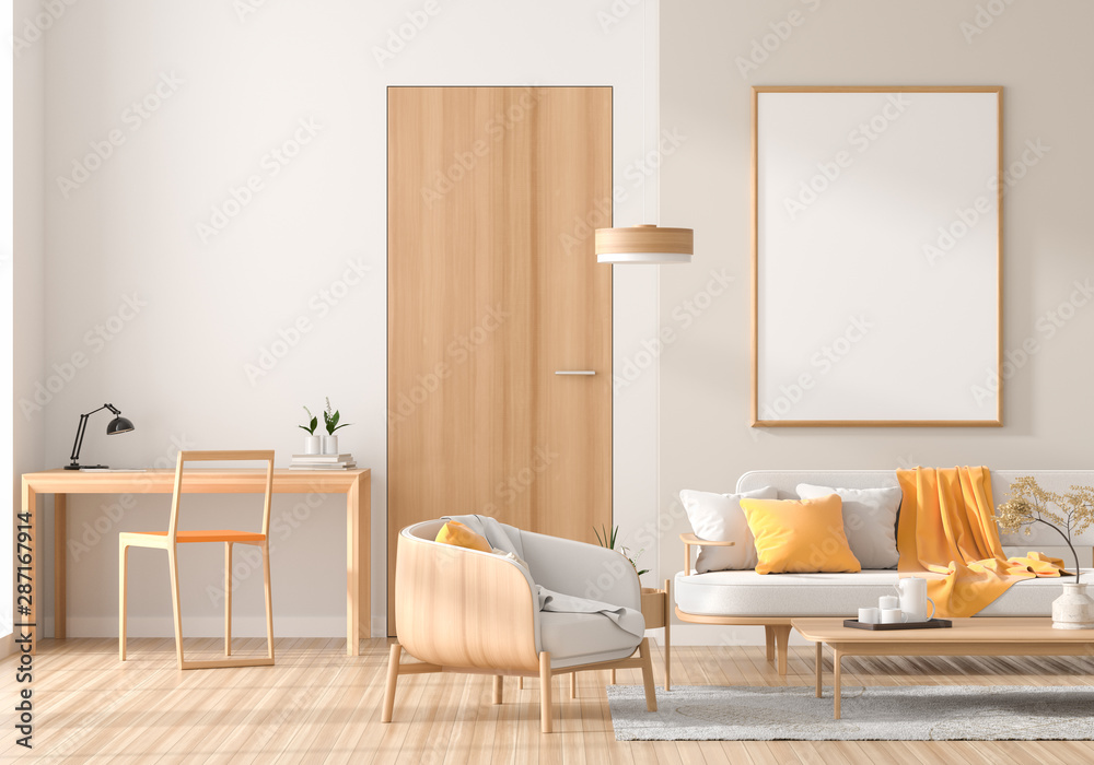 Fototapety, obrazy: Mock up poster frame in Scandinavian style interior with wooden furnitures. Minimalist interior design. 3D illustration.