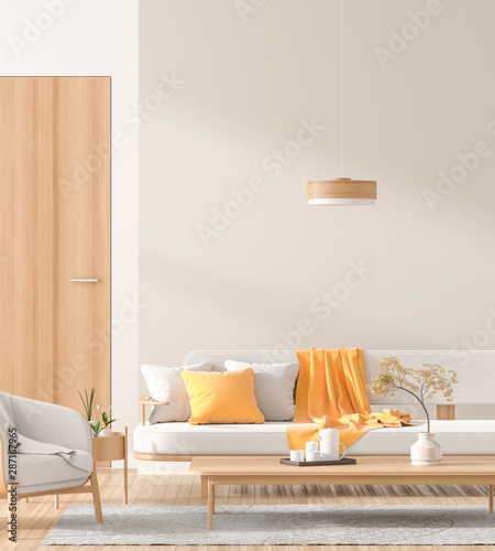 Scandinavian style interior with wooden furnitures. Minimalist interior design. 3D illustration. - 287167965