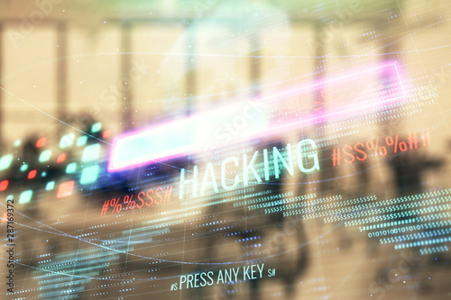Poster New York Hacking theme hologram with office interior on background. Double exposure. Concept of cyber piracy