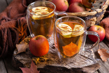 Two Cups Of Cider With Apple Slices