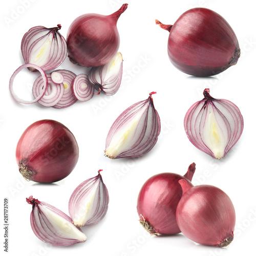 Pinturas sobre lienzo  Set with raw onion on white background