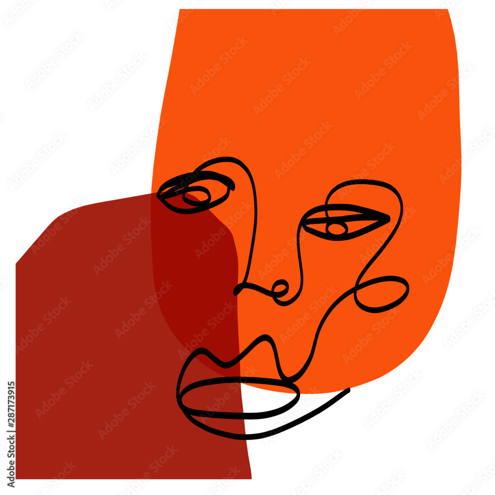 Abstract girl face draw by one continuous line