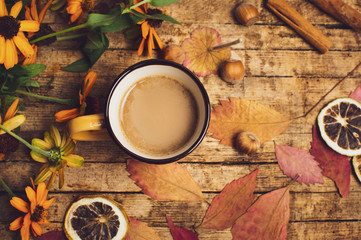 Cup of coffee and autumn se...