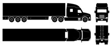 Semi Trailer Truck Silhouette On White Background. Vehicle Icons Set View From Side, Front, Back, And Top