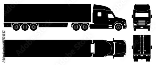 Cartoon voitures Semi trailer truck silhouette on white background. Vehicle icons set view from side, front, back, and top