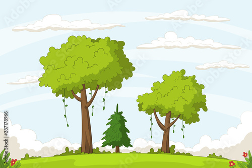 Landscape cartoon background. Hand drawn vector illustration.