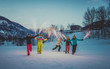 Leinwanddruck Bild - Group of snowboarders on winter holiday
