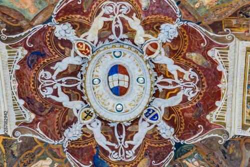 Decorative ceilings of  Loggia della Mercanzia in Siena, Italy Wallpaper Mural