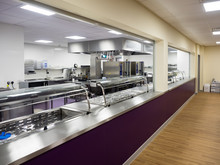School Canteen Kitchen In Educational Setting With Servery And Catering Equipment