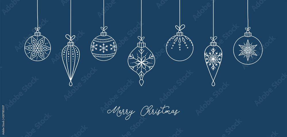 Fototapety, obrazy: Hand drawn Christmas ball illustration with greetings