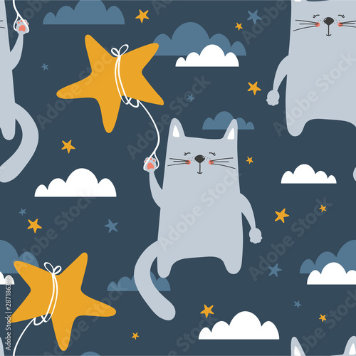 Cats, hand drawn backdrop. Colorful seamless pattern with animals, stars, clouds. Decorative cute wallpaper, good for printing. Overlapping background vector. Design illustration. Good night