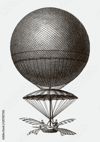 Fotografía Historic balloon from 1785 by Jean-Pierre Blanchard descending