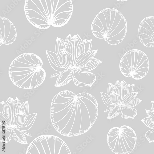 Fototapeta lotus, water lily seamless floral pattern hand drawn sketch