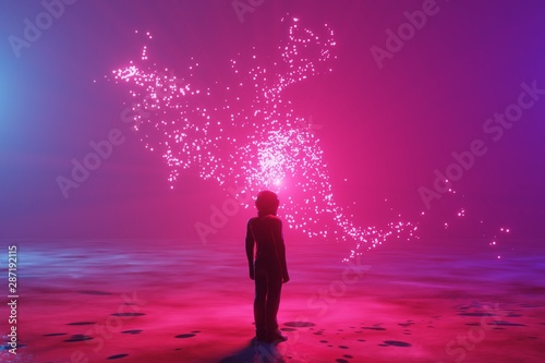 Foto auf AluDibond Hochrote A man, an astronaut stands on the surface of an alien planet and looks at an unusual luminous phenomenon. Silhouette against the backdrop of a fantastic landscape. 3d rendering.