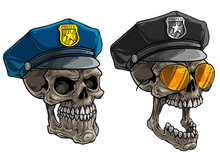 Cartoon Detailed Realistic Colorful Scary Human Skulls In Police Peaked Cap With Golden Badge And Star. Isolated On White Background. Vector Icon Set.
