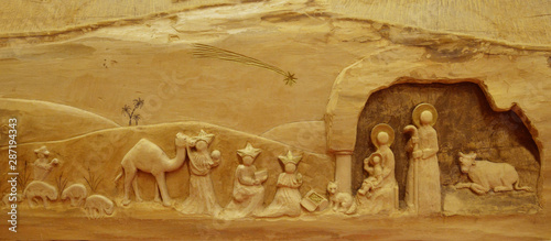 Obraz na plátně Nativity Scene on wood